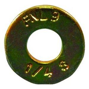 "DrillSpot 3/8"" Grade 9 Yellow Zinc Finish SAE Flat Washer, Pack of 100"
