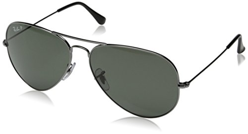 Ray-Ban-AVIATOR-LARGE-METAL-GUNMETAL-Frame-CRYSTAL-GREEN-POLARIZED-Lenses-62mm-Polarized