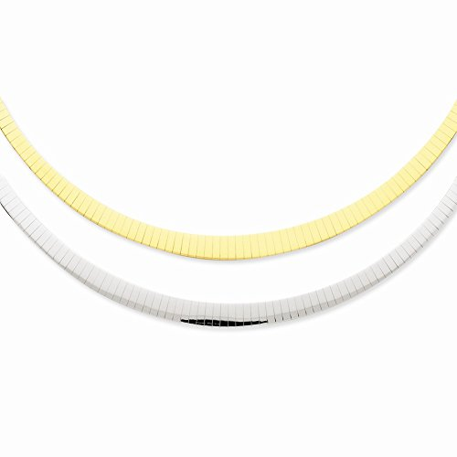 """14K Two-Tone Two-Tone 3-6Mm Graduated Flat Reversible Omega Necklace 17"""""""