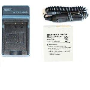NEEWER® Slim & Portable Homw Battery Charger + Car Adapter for Nikon EN-EL8 Digital Camera Battery (Battery Included!)