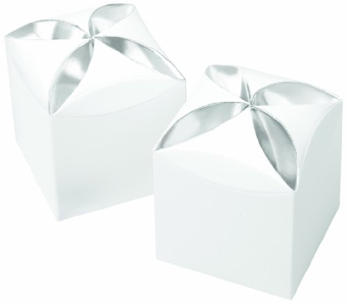 Wilton 415-0709 25 Count Petal Favor Box, White/Silver