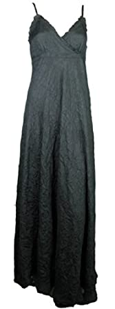 Women's Long Maxi Dress in Ladies size 8 - 16 Strappy Crinkle Style black 36