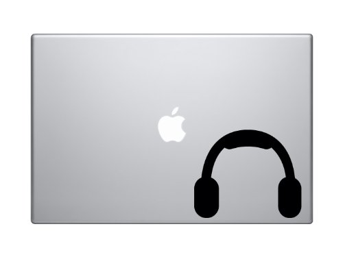 "Music Icon - Dj Headphones Audio Recording Musician Art - 5"" Black Vinyl Decal Sticker Car Macbook Laptop"