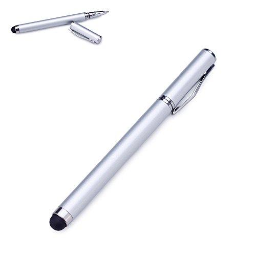 Liamoo 1 x 2in1 Stylus silber Pen Eingabestift & Kugelschreiber für iPhone, iPad, iPod, Samsung, Blackberry Google Nexus, Acer, HTC, Acer und viele weitere touch Screen Handys und Tablets (1 x silber)