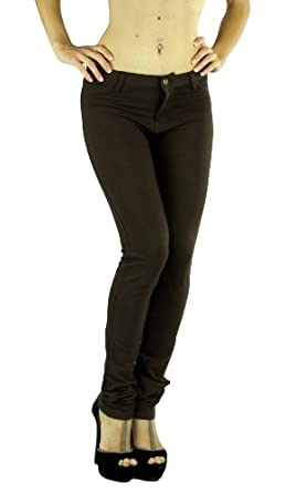 ToBeInStyle Women's Elastic Skinny Pull On Jeggings w/ Zipper & Button,Small,Brown