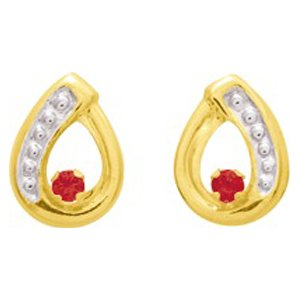 So Chic Jewels - Ladies 18k Yellow Gold Red Ruby & Clear Cubic Zirconia Openwork Drop Stud Earrings
