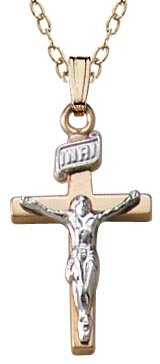 Children's 14k Gold Filled Two Tone Crucifix Cross Pendant Necklace, 15