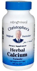Herbal Calcium Formula, 425 mg 100 Veggie Capsules by Christopher's Original Formula