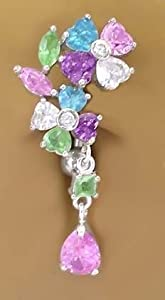Multi Color Flower Dangle Belly Navel Reverse Top mount Ring body jewelry piercing bar gold plate