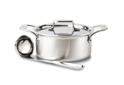 All-Clad BD553033 Brushed d5 Stainless Steel 5-Ply Bonded Dishwasher Safe Soup Pot with Lid and Ladle / Cookware, 3-Quart, Silver