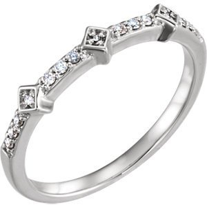 14kt White 1/10 CTW Diamond Stackable Ring