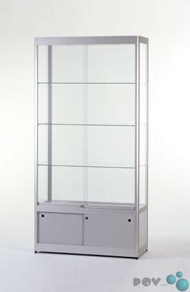 POV® Glasvitrine GPC 1000-O-Tech, Aluminium, mit Unterschrank und Beleuchtung