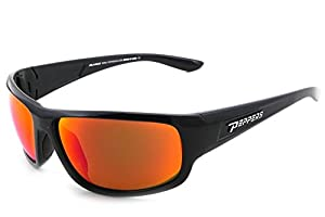 Pepper's MP570-45 Shiny Black frame/Fire Red Polarized Mirro