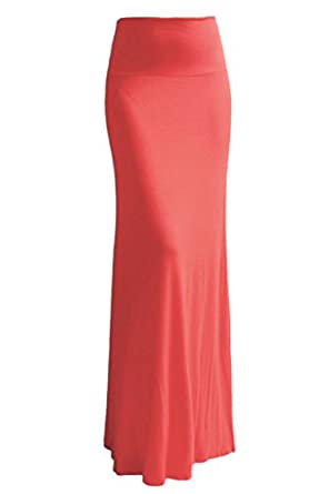 High Quality Solid Flared Maxi Long Skirt (Small, Coral)