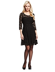 Petite Floral Lace Skater Dress