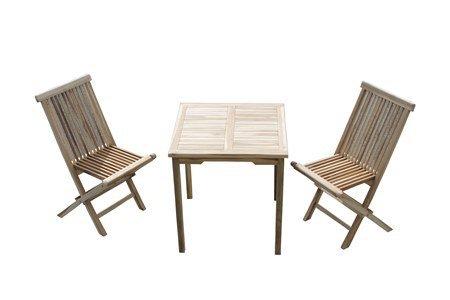 Ambientehome Teakset, Balkonmöbel, Gartenmöbel Gastro, Set 3tlg. Teaktisch 70x70