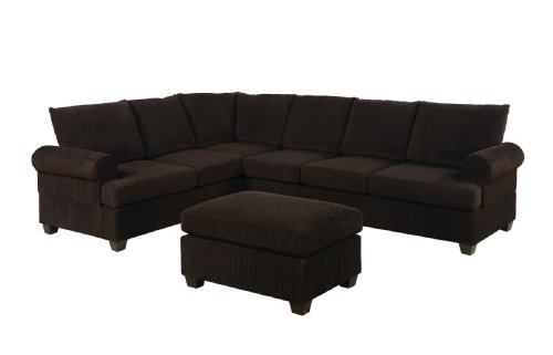 Bobkona Miranda 3-Piece Reversible Sectional with Ottoman Sofa Set, Chocolate
