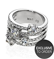 M&S Collection Platinum Plated Multi Diamanté Ring
