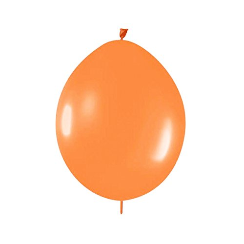 AllyDrew Latex Link Balloons Link-o-Loon Balloons Needle Tail Balloons, 6in Orange (set of 10) - 1