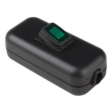 Water Resistant In-Line On/Off Rocker Switch with Green Light for Electric DIY (Black & Green) convinent