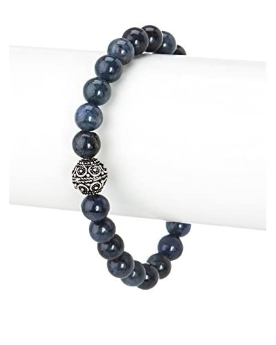 Stephen Oliver Multi Blue & Sterling Silver Carved Bracelet