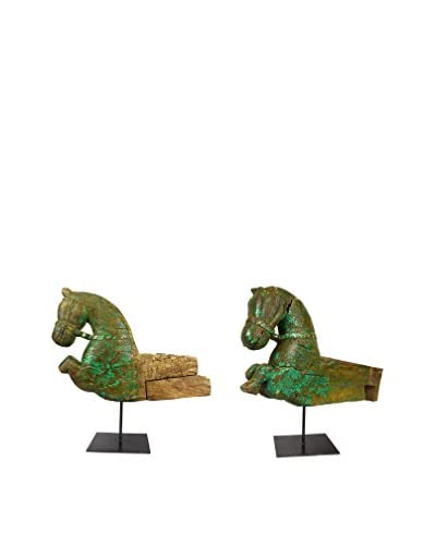 Uptown Down Set of 2 Hand-Carved Wooden Horses with Stands