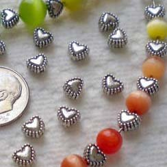 50pcs Tibetan Silver Sweet Heart Spacer Metal Beads 6mm ~Jewelry Findings~