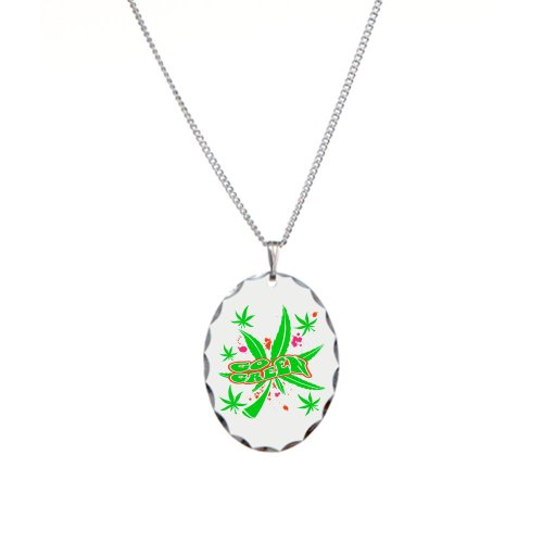Necklace Oval Charm Marijuana Go Green Neon