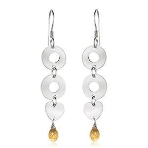 Citrine Briolette Heart Dangle Earrings in Silver