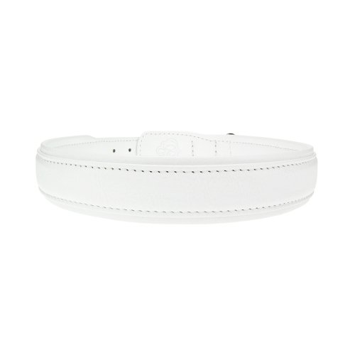 Bitch and Stud Chic Classic Italian Leather Dog Collar, Size 7, White