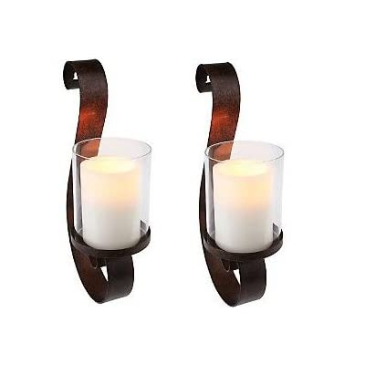 Candlestick Set Of 2 Wall Sconces With Flameless Candles : Amazon.com: Set of 2 Home Reflection S Shaped Scroll Wall Sconces Flameless Candles w/ Timer