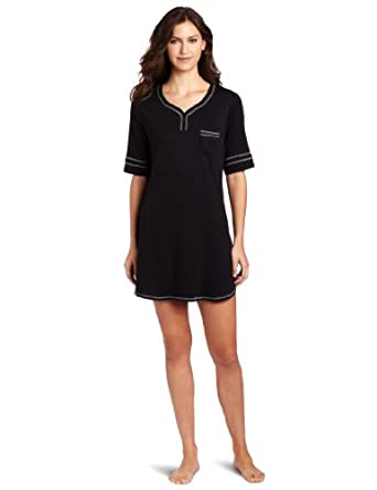 Karen Neuburger Women's Basic Henley Nightshirt, Black, Small