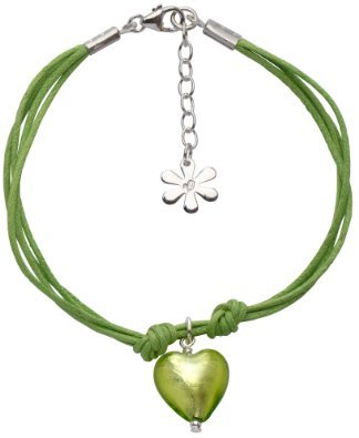 Valentina Lime Cotton Multistrand Bracelet with Genuine Murano Heart of 18.5 - 22 cm Christmas Green ladies [parallel import goods]