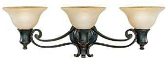 Murray Feiss VS9203-LBR Three-Light Cervantes Collection Vanity Strip, Liberty Bronze with Frost Amber Glass Shades