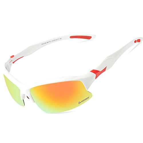 HODGSON Sports Polarized Sunglasses for Men or Women , UV400 Protection Unbreakable Sports Glasses for Riding, Driving, Fishing, Running, Golf and Other Outdoor Activities-White/Red (Sun Protection Fishing compare prices)