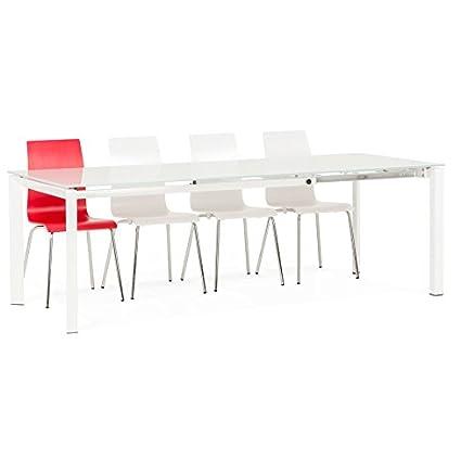 Alterego - Table de salle à manger extensible moderne 'ANGEL' en verre blanc