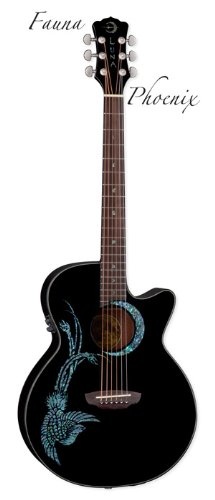 Luna Guitars Fauna Series Phoenix Folk-Style Acoustic-Electric Guitar (Black)
