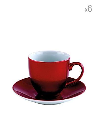 Tognana koffie kop en schotel set van 6 rode Bellavis