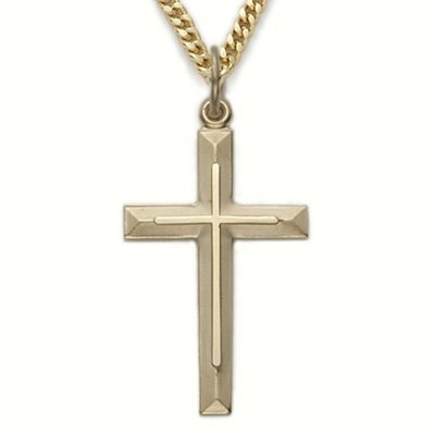 14K Yellow Gold Filled Cross Necklace in an Inner