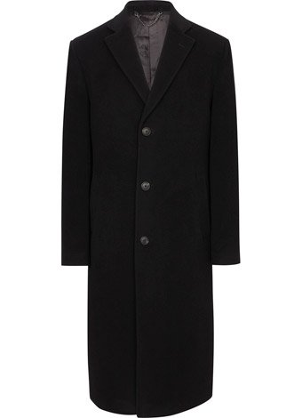 Austin Reed Black Long Wool Blend Coat REGULAR MENS 38