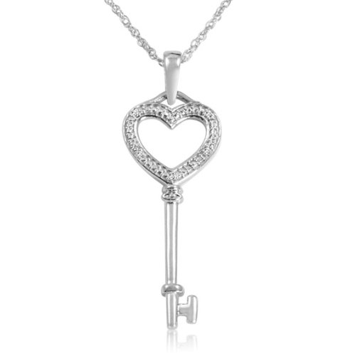 Sterling Silver and Diamond Key to Your Heart Pendant Necklace 18 in. Chain: Jewelry