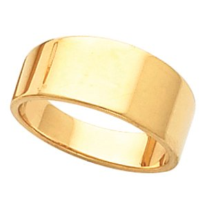 Genuine IceCarats Designer Jewelry Gift 14K Yellow Gold Wedding Band Ring Ring. 08.00 Mm Flat Tapered Band In 14K Yellowgold Size 7