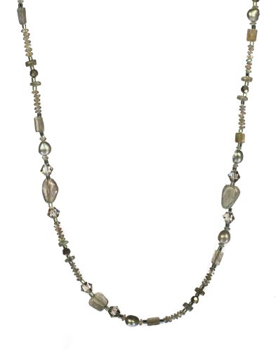 Endless Labradorite with Faceted Rondell Accents and Silver-Gray Freshwater Cultured Pearl Necklace 36