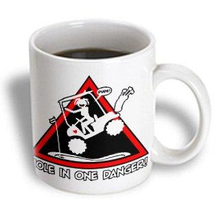 Mark Grace Screamnjenny Hole In One - Stickgirl Triangle Danger Sign, Hole In One Via Golf Cart Dude - 15Oz Mug (Mug_111052_2)