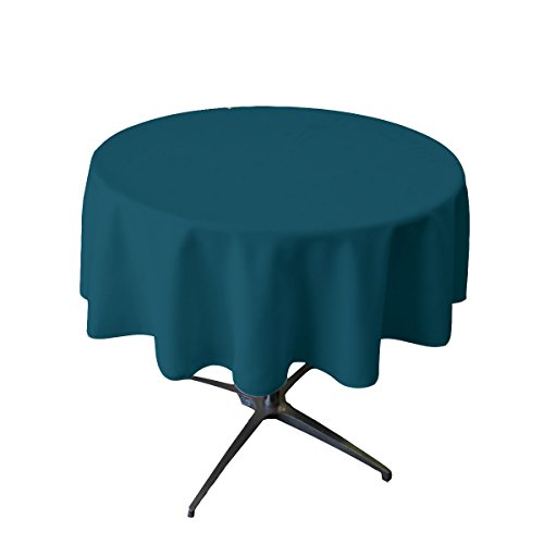 LA Linen Polyester Poplin Round Tablecloth, 51