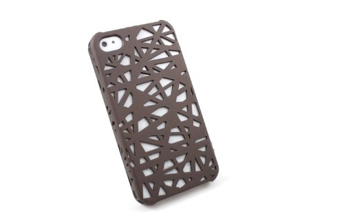 Worldshopping Snap-on Case Skin Cover compatible with Apple iPhone 4 / 4S (AT&T / Verizon), Coffee / Champagne Bird Nest Rear