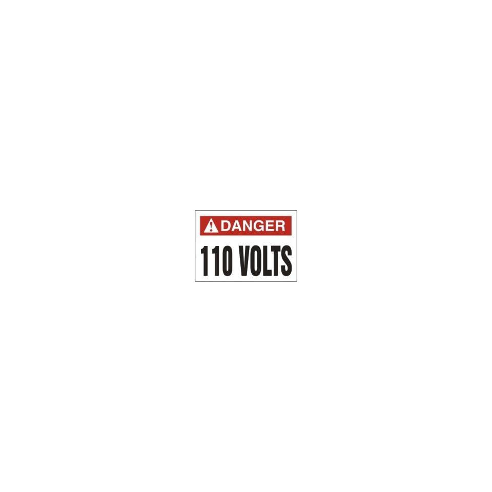 DANGER Labels 110 VOLTS Adhesive Vinyl   5 pack 3 1/2 x 5