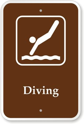 "Diving (With Graphic) Sign, 18"" X 12"""