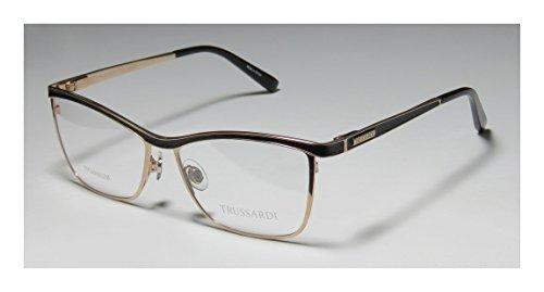 Trussardi 12516 Womens/Ladies Rx-able Famous Designer Designer Full-rim Titanium Flexible Hinges Eyeglasses/Eyeglass Frame (54-15-135, Gold / Black) (Aviator Watch Belt compare prices)