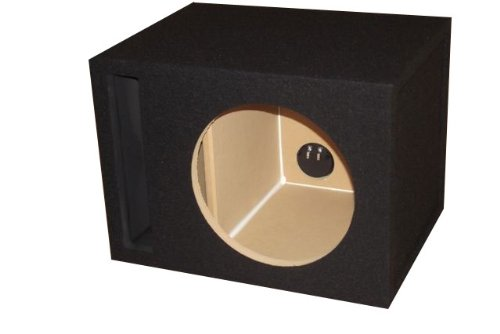 "R/T - Black Single 12"" Slot Vented Sub Bass Hatchback Speaker Box With Labyrinth Power Port (Mdf)"